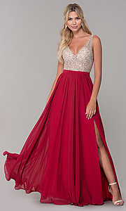 Image of long illusion-beaded-bodice v-neck prom dress. Style: DQ-2569 Detail Image 4