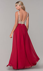 Image of long illusion-beaded-bodice v-neck prom dress. Style: DQ-2569 Detail Image 5