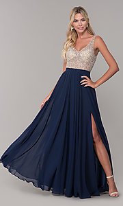Image of long illusion-beaded-bodice v-neck prom dress. Style: DQ-2569 Detail Image 1