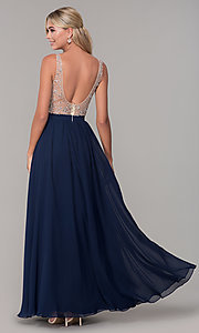 Image of long illusion-beaded-bodice v-neck prom dress. Style: DQ-2569 Detail Image 2