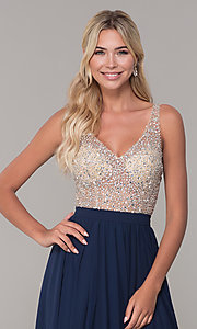 Image of long illusion-beaded-bodice v-neck prom dress. Style: DQ-2569 Detail Image 3