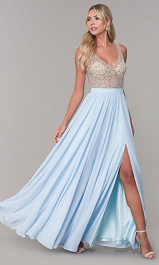 Long Illusion-Beaded-Bodice V-Neck Prom Dress