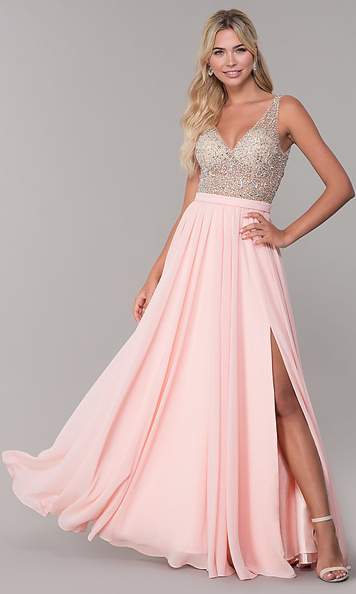Image of long illusion-beaded-bodice v-neck prom dress. Style: DQ-2569 Detail Image 6