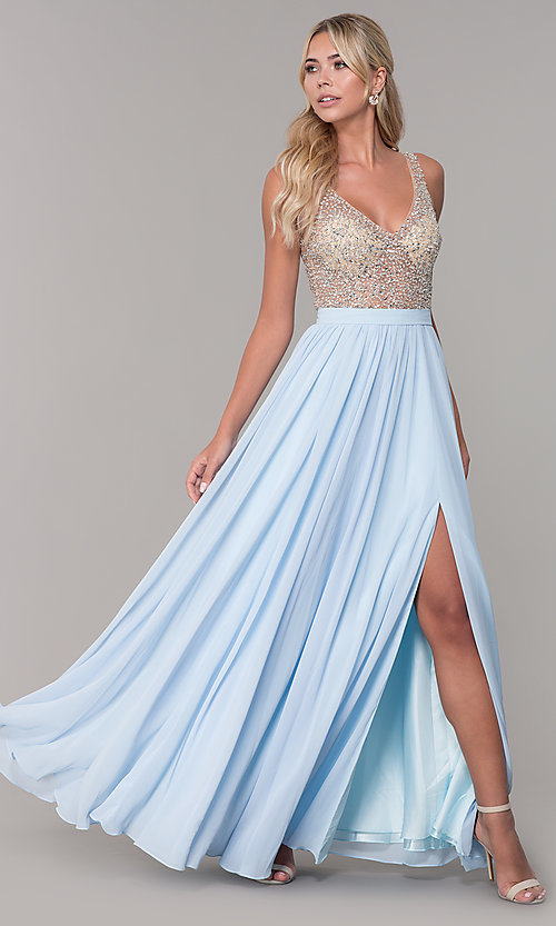 4ef0ee7cd4b8 Image of long illusion-beaded-bodice v-neck prom dress. Style: