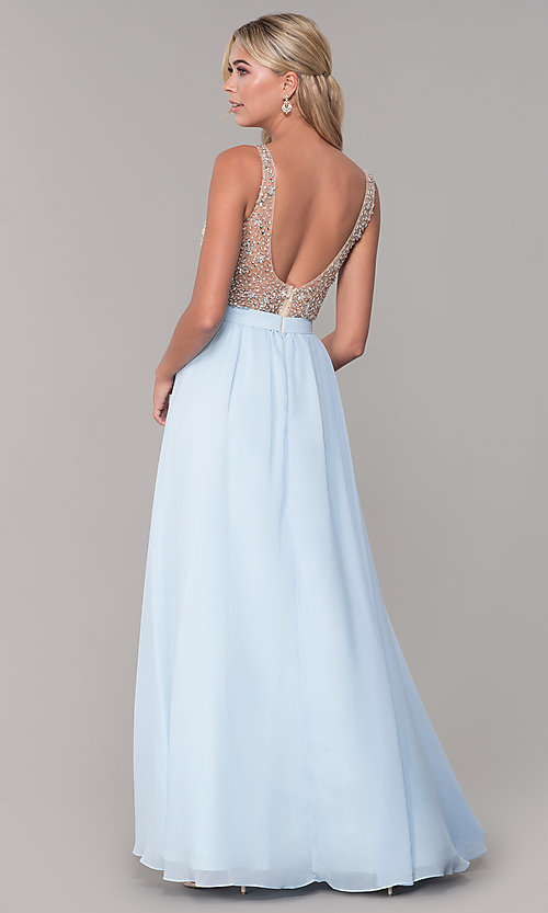 Image of long illusion-beaded-bodice v-neck prom dress. Style: DQ-2569 Back Image
