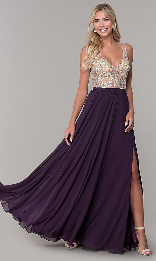 09d66fbcfd Image of long illusion-beaded-bodice v-neck prom dress. Style