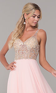 Image of chiffon open-back v-neck long prom dress. Style: DQ-2513 Detail Image 6