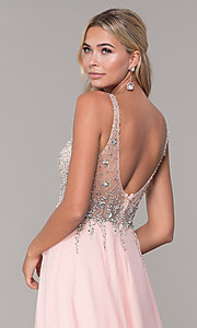 Image of chiffon open-back v-neck long prom dress. Style: DQ-2513 Detail Image 7