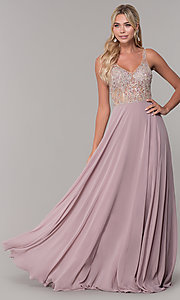 Image of chiffon open-back v-neck long prom dress. Style: DQ-2513 Front Image