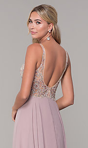Image of chiffon open-back v-neck long prom dress. Style: DQ-2513 Detail Image 2