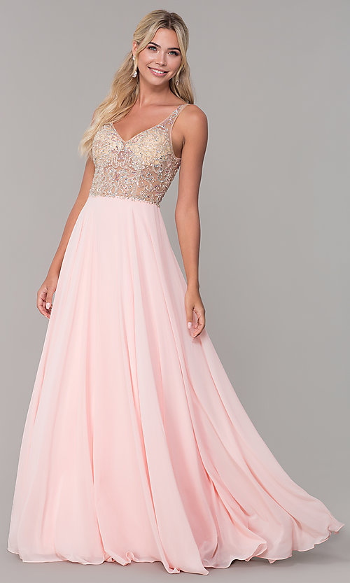 Image of chiffon open-back v-neck long prom dress. Style: DQ-2513 Detail Image 4