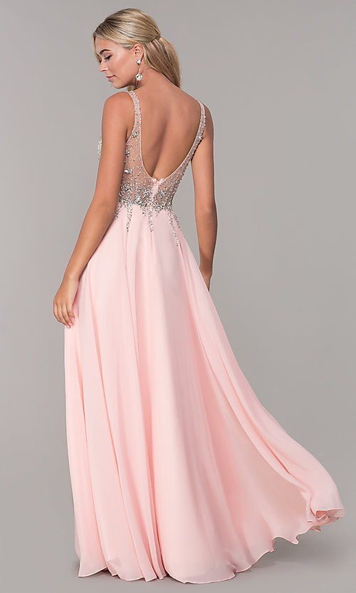 Image of chiffon open-back v-neck long prom dress. Style: DQ-2513 Detail Image 5