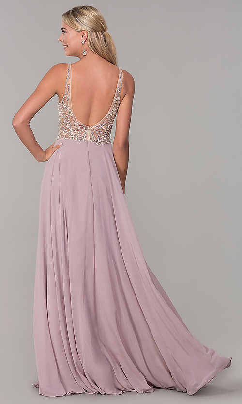 Image of chiffon open-back v-neck long prom dress. Style: DQ-2513 Back Image