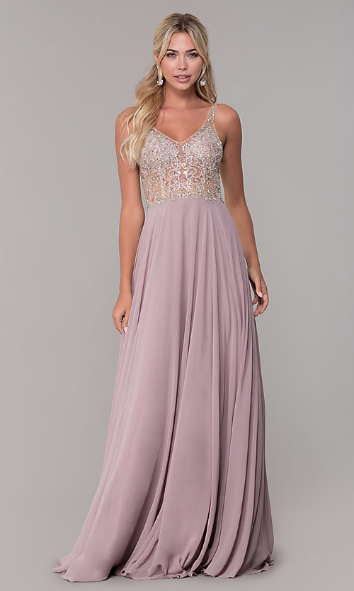 Image of chiffon open-back v-neck long prom dress. Style: DQ-2513 Detail Image 3