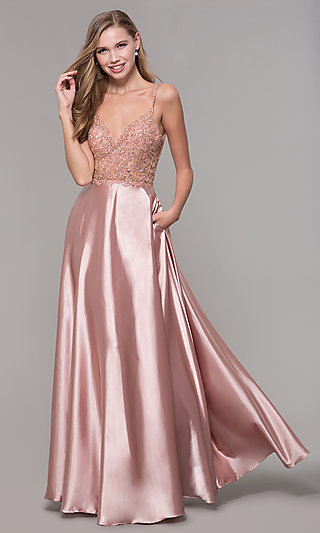 Long Rose Gold Prom Dress with Beaded Bodice