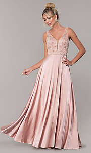 Image of long rose gold v-neck prom dress by PromGirl. Style: DQ-PL-2693 Front Image