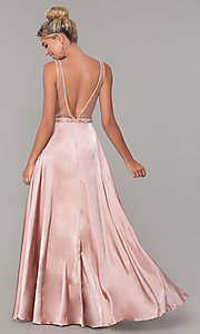 Image of long rose gold v-neck prom dress by PromGirl. Style: DQ-PL-2693 Back Image