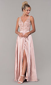 Image of long rose gold v-neck prom dress by PromGirl. Style: DQ-PL-2693 Detail Image 3