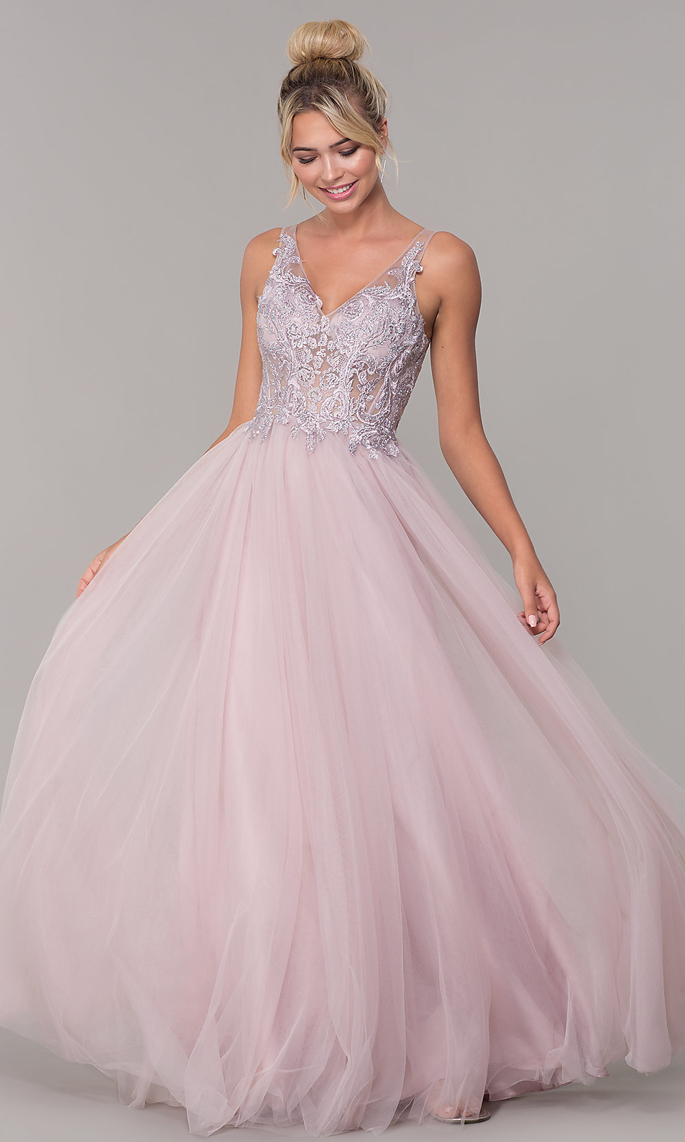 67ad32b6f5 Long V-Neck Tulle Prom Dress with Embroidered Bodice