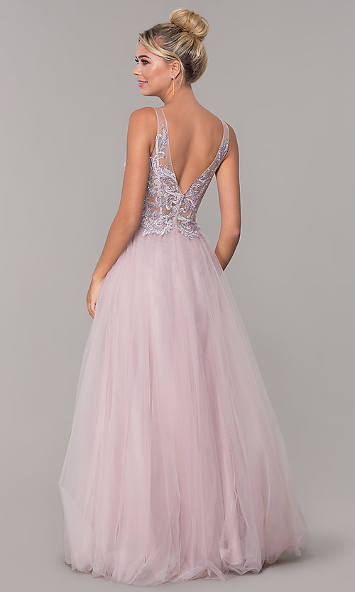 Image of tulle long prom dress with embroidered bodice. Style: DQ-2511 Back Image