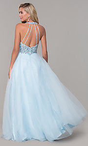 Image of long v-neck tulle prom dress with beaded bodice. Style: DQ-2532 Back Image