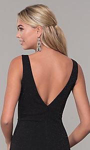 Image of v-neck long sleeveless glitter prom dress. Style: DQ-2497 Detail Image 2