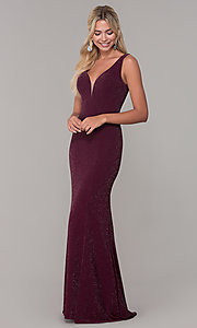 Image of v-neck long sleeveless glitter prom dress. Style: DQ-2497 Detail Image 4