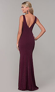 Image of v-neck long sleeveless glitter prom dress. Style: DQ-2497 Detail Image 5