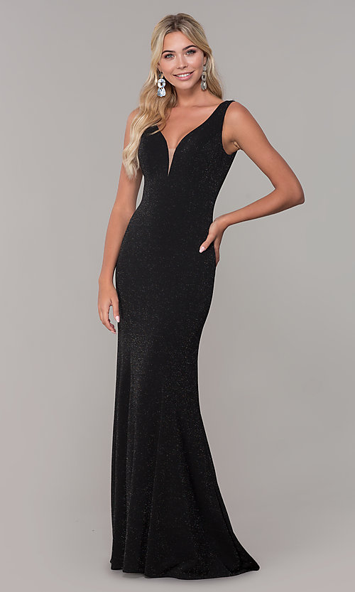 Image of v-neck long sleeveless glitter prom dress. Style: DQ-2497 Front Image