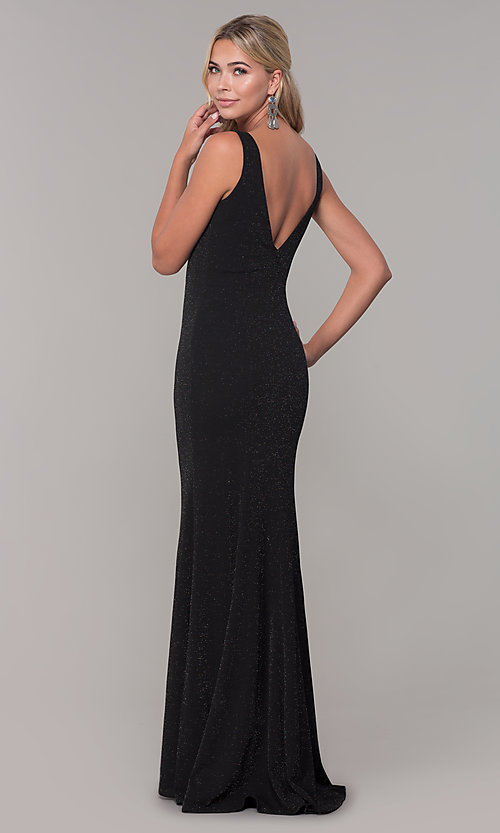Image of v-neck long sleeveless glitter prom dress. Style: DQ-2497 Back Image