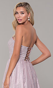 Image of dusty pink long strapless glitter prom dress. Style: DQ-2651 Detail Image 2
