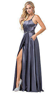 Image of long satin prom dress with pockets and beaded waist. Style: DQ-2652 Detail Image 6
