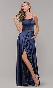 Image of long satin prom dress with pockets and beaded waist. Style: DQ-2652 Detail Image 4