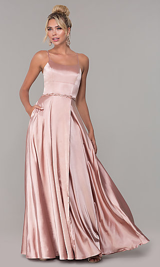 Long Satin Prom Dress with Pockets and Beaded Waist