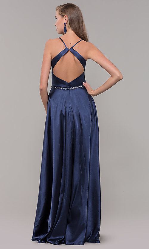 Image of long satin prom dress with pockets and beaded waist. Style: DQ-2652 Detail Image 5