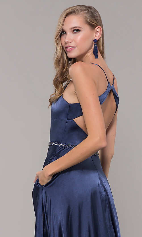 Image of long satin prom dress with pockets and beaded waist. Style: DQ-2652 Detail Image 7