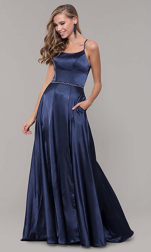 Image of long satin prom dress with pockets and beaded waist. Style: DQ-2652 Detail Image 8