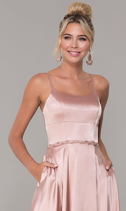 Image of long satin prom dress with pockets and beaded waist. Style: DQ-2652 Detail Image 1