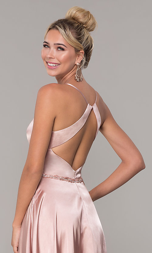 Image of long satin prom dress with pockets and beaded waist. Style: DQ-2652 Detail Image 2