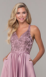 Image of long v-neck prom dress with strappy embroidered bodice. Style: DQ-2542 Detail Image 1