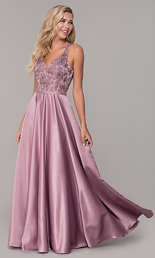 Long V-Neck Prom Dress with Strappy Embroidered Bodice