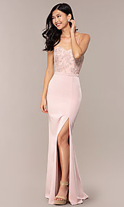 Image of long sweetheart prom dress with lace bodice. Style: DQ-2631 Front Image