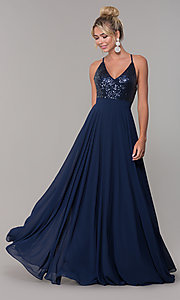 Image of open-back long v-neck prom dress with sequins. Style: DQ-2680 Front Image