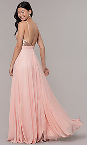 Image of open-back long v-neck prom dress with sequins. Style: DQ-2680 Back Image