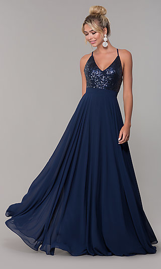 Open-Back Long V-Neck Prom Dress with Sequins