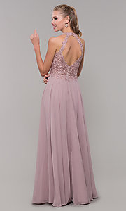 Image of long sleeveless prom dress with embroidered bodice. Style: DQ-2621 Back Image