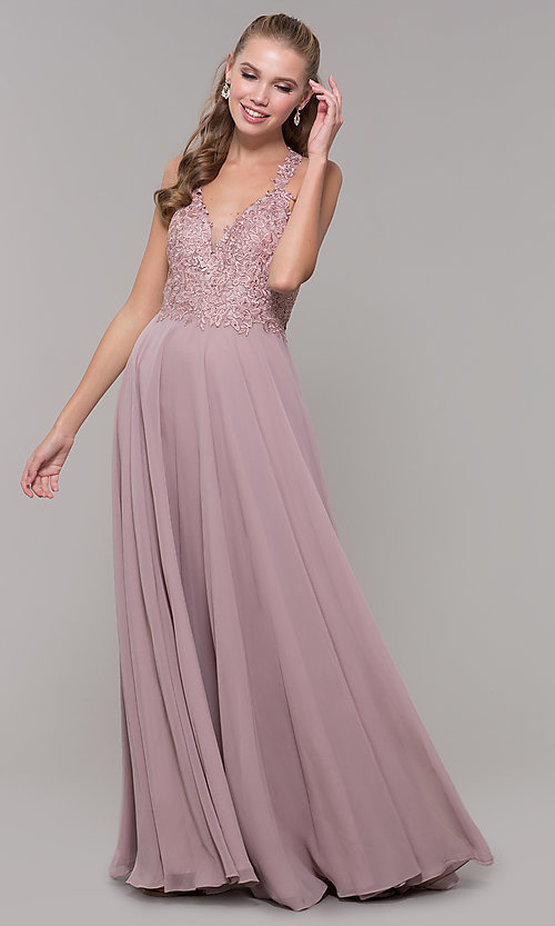 Image of long sleeveless prom dress with embroidered bodice. Style: DQ-2621 Front Image
