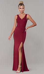 Image of embroidered long v-neck prom dress. Style: DQ-2622 Detail Image 4