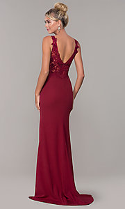 Image of embroidered long v-neck prom dress. Style: DQ-2622 Detail Image 5