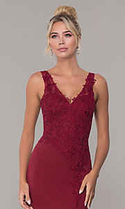 Image of embroidered long v-neck prom dress. Style: DQ-2622 Detail Image 6